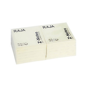 RAJA Z-Notes auto-adhésives 76 x 76 mm Bloc de 100 feuilles - Jaune