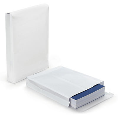 RAJAFIL Fadenverstärkte Versandtaschen mit Seitenfalten, weiss