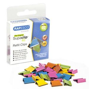 Rapesco Supaclip® Clips para 40 hojas, colores surtidos, caja de 50
