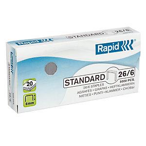 Rapid Agrafes Standard (26/6), pattes de 6 mm de long, acier galvanisé