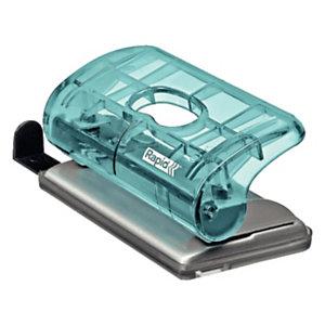 Rapid BabyRay FC5 Mini perforatore a 2 fori Colour'Ice, Capacità 10 fogli, Blu traslucido