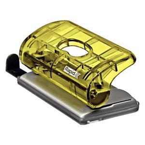 Rapid BabyRay FC5 Mini perforatore a 2 fori Colour'Ice, Capacità 10 fogli, Giallo traslucido