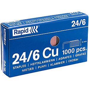 Rapid Grapas estándar (24/6), 6 mm de longitud de patilla, acero cobreado