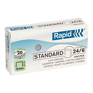 Rapid Grapas estándar (24/6), 6 mm de longitud de patilla, acero galvanizado, caja de 1000