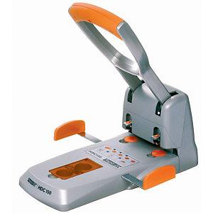 Rapid Supreme HDC150 Perforatore per alti spessori, 2 Fori, 150 Fogli, Colore argento/arancione