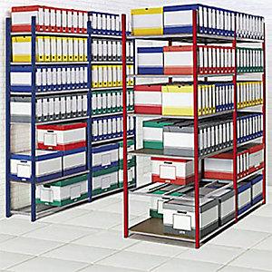 Rayonnage archives Archiva - Simple face - L. 100 x P. 35 cm - Elément Suivant - Bleu
