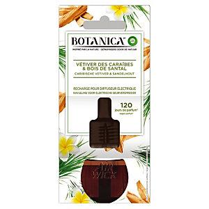 Recharge pour diffuseur électrique Botanica, parfum Vétiver des Caraïbes & Bois de Santal, flacon de 19 ml