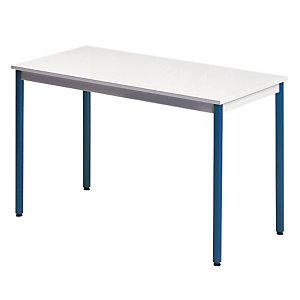 Rechthoekige tafel 140 x 70 cm grijs legblad / blauwe poten