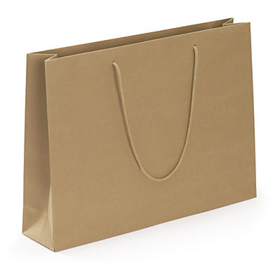"Recycled Kraft paper gift bags with paper ""rope"" handles"