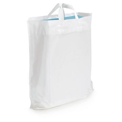 Recycled plastic carrier bags with soft handles