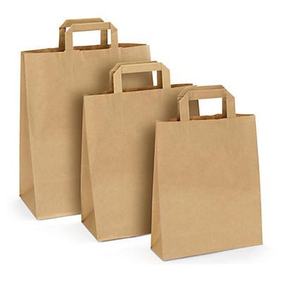 Recycling-Papiertragetaschen mit Flachhenkeln