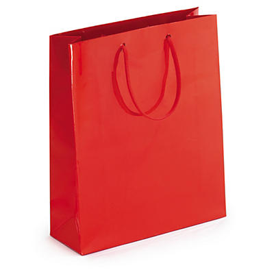 Red gloss laminated gift bags