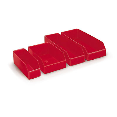 Red poliboard storage bins