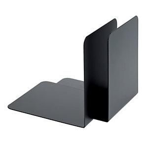 Reggilibri in metallo, Nero (confezione 2 pezzi)