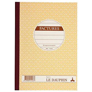 """REGISTRES LE DAUPHIN Manifold autocopiant """"Facture"""", double exemplaires 21x14,8 cm, 50 pages"""