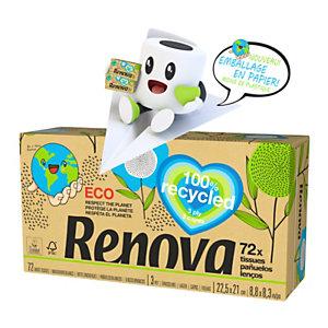 Renova Mouchoirs en papier 100% recyclés triple épaisseur - Boîte de 72 mouchoirs -Blanc