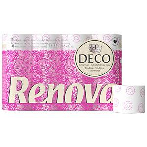 Renova Papier toilette en rouleaux standard Deco, quadruple épaisseur, 140feuilles, blanc (Carton de 12 rouleaux)