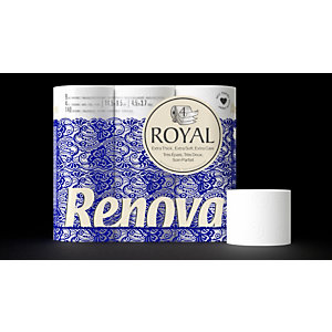 Renova Papier toilette en rouleaux standard Royal, quadruple épaisseur, blanc