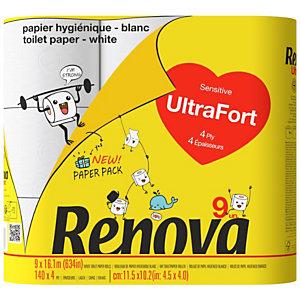 Renova Papier toilette Ultra-Fort quadruple épaisseur - Rouleau de 140 feuilles - Blanc