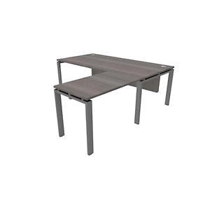 Retour de bureau direction E-Link - L.100 x P.60 cm - Plateau Cèdre - Pieds Aluminium