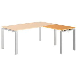 Retour Droit E-link - L. 80 x P. 60 cm - Plateau Hêtre - 4 pieds Aluminium
