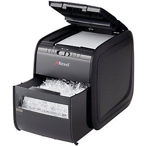 Rexel Auto+ 90X Destructora automática de corte cruzado, 90 hojas, 20 l, destruye grapas, tarjetas de crédito y clips