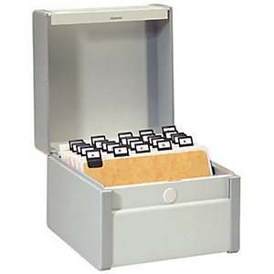 Rexel Boîte à fiches métal - Fichier en largeur - 190x230 mm - Gris