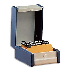REXEL Boîte à fiches Provence format A7 en largeur H75 x P125 mm Gris, livré avec séparateur métallique