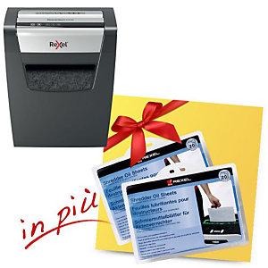 Rexel Offerta Distruggi documenti con taglio a frammenti Momentum X312 + 2 confezioni da 20 fogli lubrificanti comprese nel prezzo