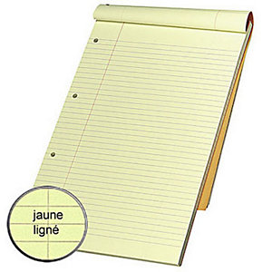 Rhodia Bloc notes orange agrafé 21 x 32 cm - ligné jaune - 80 feuilles perforées