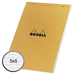 Rhodia Bloc notes orange agrafé A4 21 x 29,7 cm - petits carreaux 5x5 - 80 feuilles