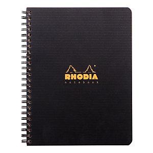 RHODIA Carnet Rhodiactive A5+ avec reliure à spirales, couverture en polypropylène, carnet 80 feuilles, pages quadrillées, noir