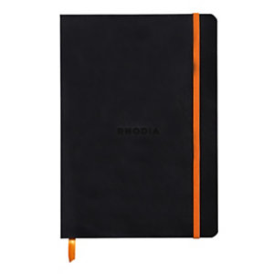 Rhodia Carnet souple Rhodiarama A5 (14,8 x 21 cm), 160 pages lignées de 90 g/m² - Couverture noire