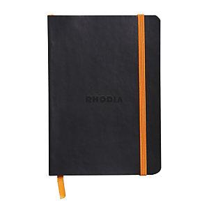 RHODIA Carnet souple Rhodiarama  A6 (10,5 x 14,8 cm), 144 pages lignées de 90 g/m²  - Couverture noire