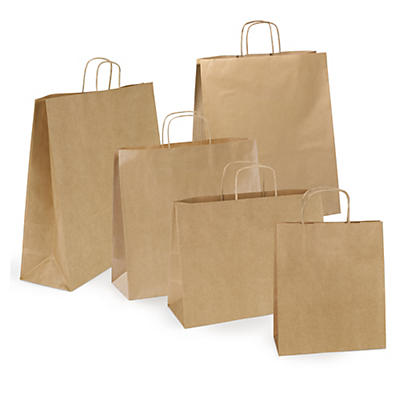 Ribbed brown paper carrier bags with twisted handles