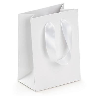 Ribbon handle gift bags in black or white