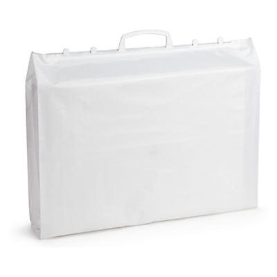 Rigid handle plastic carrier bags