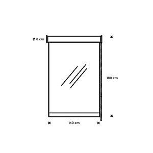 Rocada Cortina de protección enrollable y fijación al techo, 180 (alt) x 140 (an) x 8 (prof) cm