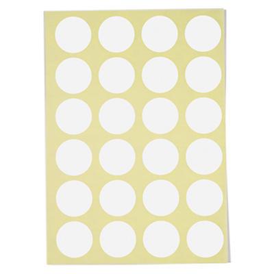 Pastille blanche adhésive permanent en planche A5##Ronde witte signaaletiketten