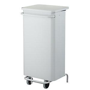 Rossignol Poubelle à pédale mobile Collecroule Carène, 110 litres - Blanc