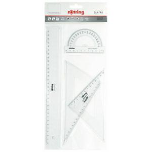 Rotring Centro Conjunto de geometría de 4 piezas con regla de 30 cm, transportador de 180° y juego de escuadras de 30°/60° y 45° de plástico transparente