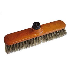 ROZENBAL Balai droit en soie grise avec manche bois verni - 28 cm