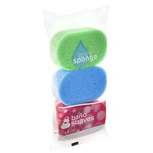 ROZENBAL Esponja de baño suave, colores surtidos, pack de 3