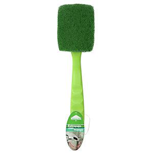 ROZENBAL Estropajo de fibra verde con salvauñas y mango ergonómico, 26 cm