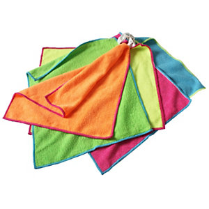 ROZENBAL Lavette microfibre multi-usages 30 x 35 cm , couleurs assorties- Lot de 5 + 2