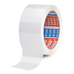 Ruban adhésif d'emballage PVC Tesa 4120, 50 mm x 66 m, Blanc