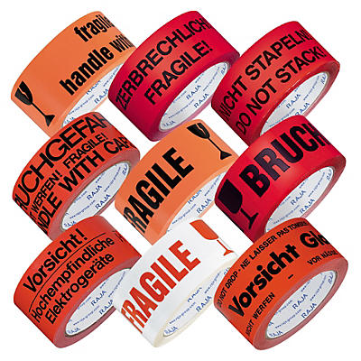 Ruban adhésif informatif économique en polypropylène silencieux, 32 microns##PP Warnbänder Low-Noise Eco mit Standardaufdruck, 32 μ