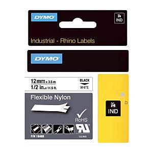 Ruban nylon  Dymo 12 mm x 3,5 m coloris blanc pour titreuse Rhino 4200
