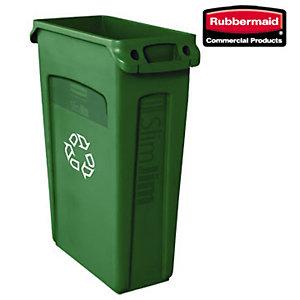 Rubbermaid Commercial Products Bidone per raccolta differenziata Slim Jim, Capacità 87 litri, 55,8 x 27,9 x 76,2 cm, Verde