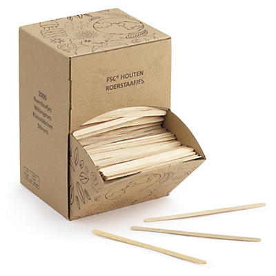 Boîte distributrice de touillettes en bois##Rührstäbchen Holz